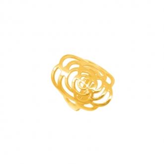 Bague Amporelle acier or motif fleur dentelle P-RS191/IPG