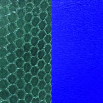 Cuir pour manchette 25 mm Les Georgettes Ecailles Serpent d'eau sapin/Bleu Klein 702755199BF000