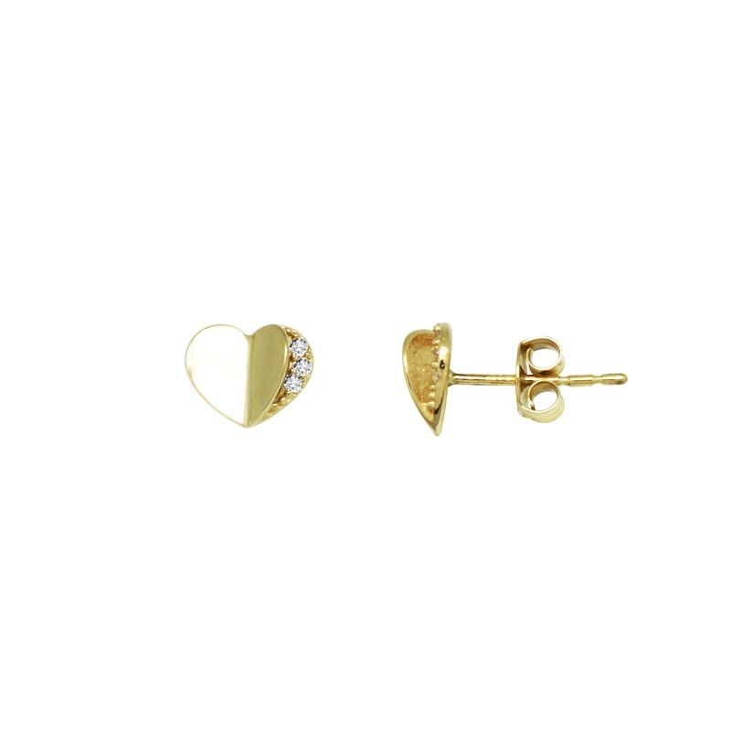 Boucles d'oreilles carador Or jaune375/000e signe coeur FE3248