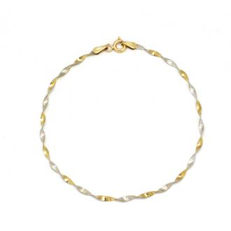 Bracelet carador Or jaune et gris 375/000 maille torsade H25020CNB18
