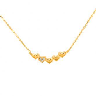 Collier pendentif Carador Or jaune 375/000e formé de 5 coeurs NC0008