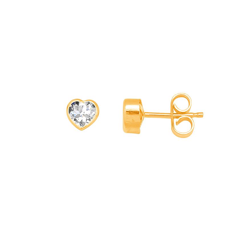 Boucles d'oreilles Carador Or jaune femme et filles Coeur PCI-4C