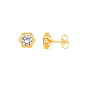 Boucles d'oreilles Carador Or jaune femmemotif fleur PCI-5B