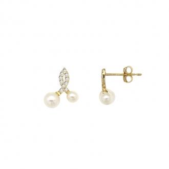 Boucles d'oreilles carador Or jaune 375/000e et perles PE0134