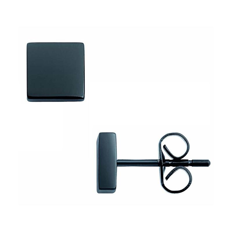 Boucles d'oreilles Phebus carrées noires 87-0007-N