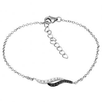 Bracelet Femme Carador double vagues argent 925/000 et oxydes de ziconium bicolores