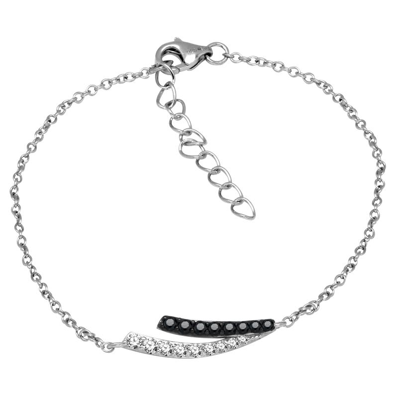 Bracelet Femme Carador chaine et ornement empierré de zircons bicolores