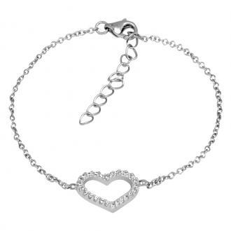 Bracelet Femme Carador cœur empierré d'oxydes de zirconium en argent 925/000