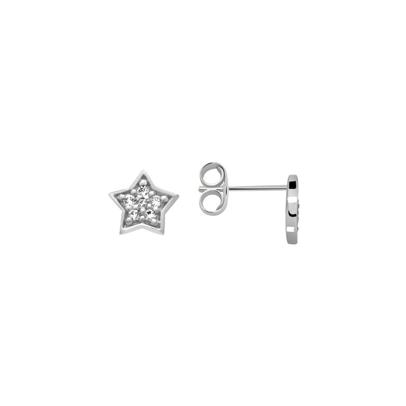 Boucles d'oreilles Carador étoile empierrée d'oxydes de zirconium en argent 925/000