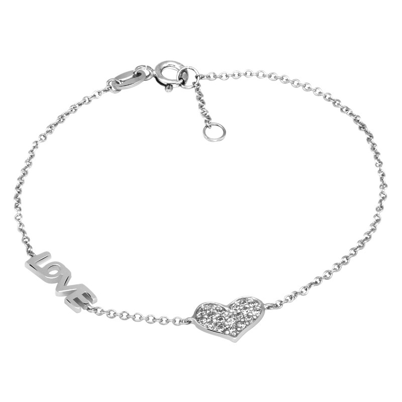 Bracelet Femme Carador Love argent 925/000 et oxydes de zirconium