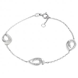 Bracelet Femme Carador trois gouttes empierrées de zircons en argent 925/000