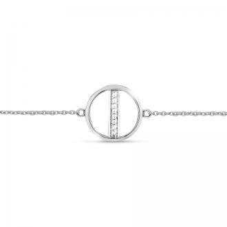 Bracelet Femme Atelier 17 Bulle cercle et tige or blanc 375/000 et diamants