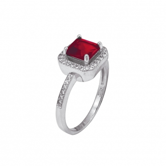 Bague Carador joaillerie pierre rouge carrée argent 925/000