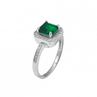 Bague Carador joaillerie pierre verte carrée argent 925/000