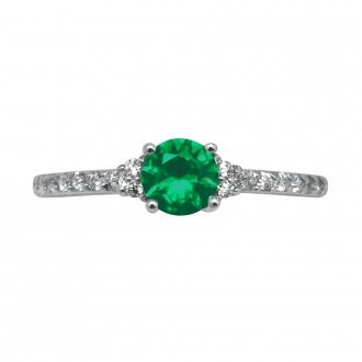 Bague Carador solitaire fantaisie argent 925/000, oxydes de zirconium et pierre verte
