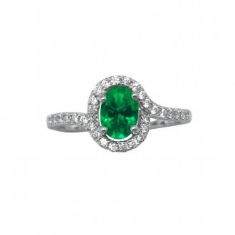 Bague Carador argent 925/000, oxydes de zirconium et pierre ovale verte