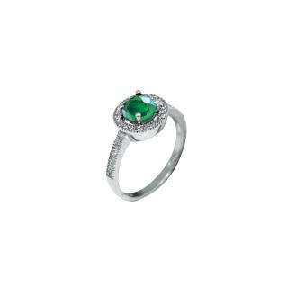 Bague joaillerie Carador argent 925/000 pierre de verre vert