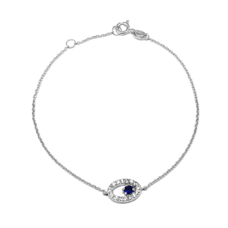 Bracelet Carador chaine et oval empierré d'oxyde de zirconium et pierre bleue en argent 925/000