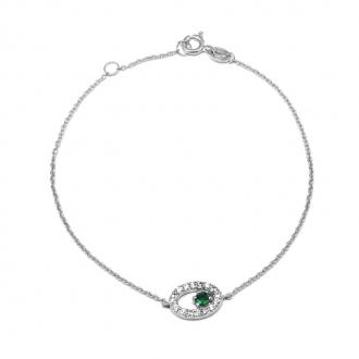 Bracelet Carador chaine et oval empierré d'oxydes de zirconium et pierre verte en argent 925/000