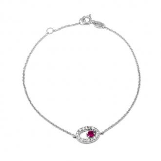 Bracelet Carador chaine et oval empierré d'oxydes de zirconium et verre rouge en argent 925/000