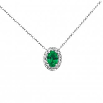 Collier Carador chaine et pendentif joaillerie ovale argent 925/000, zircons et verre vert