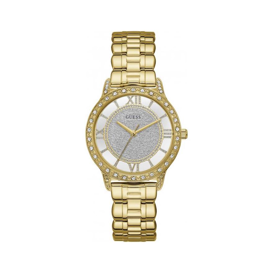 5a6f10f0abe32 Montre Femme Guess acier doré et cristaux W1013L2 pour FEMME