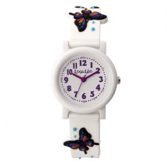 Montre Enfant Lou&Léo papillon plastique banc P100207-J5