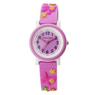 Montre fille Lou&Léo papillon et fleur plastique rose P100207-C5