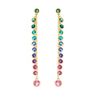 Boucles d'oreilles Swarovski Attract multicolore métal doré 5402030