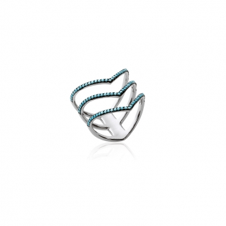 Bague Carador triple anneau V argent 925/000 et turquoise