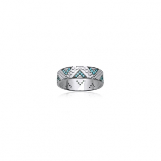 Bague Carador anneau motif ethnique argent 925/000 et turquoise - 7 mm