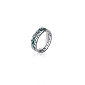 Bague Carador anneau 6 mm motif ethnique argent 925/000 et turquoise