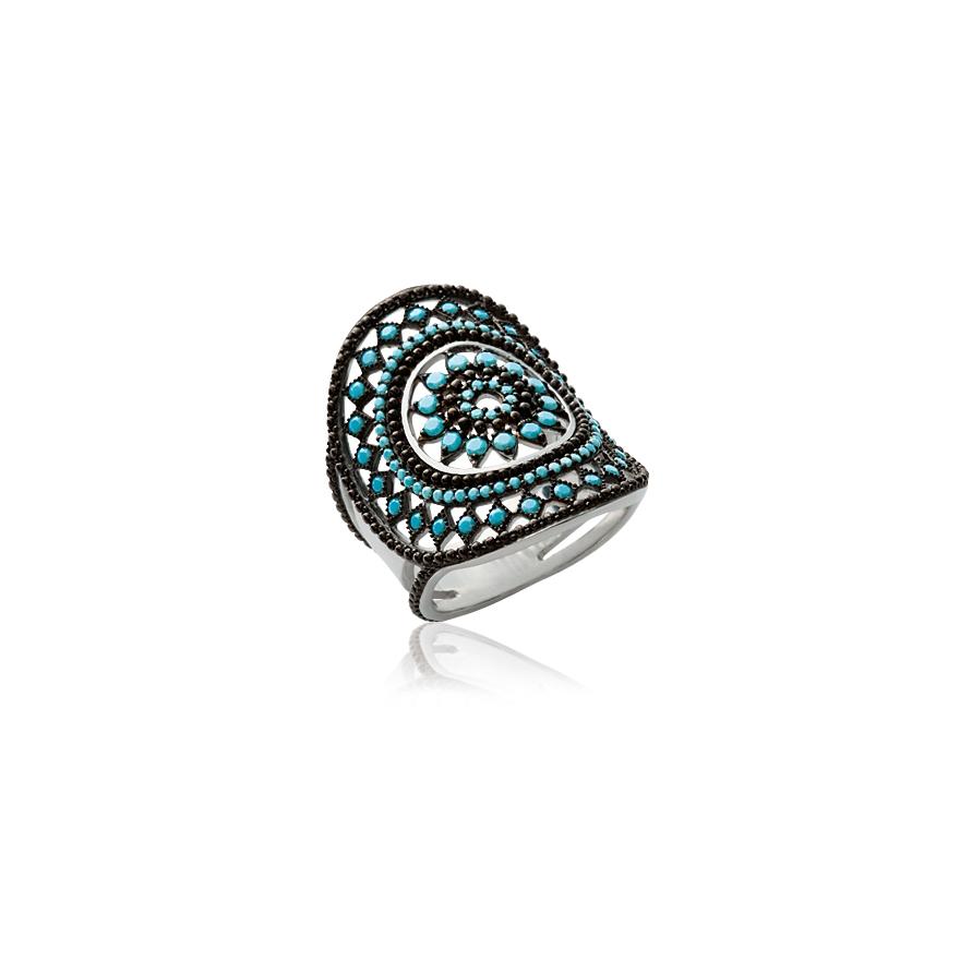 1a248570064 Bague Carador motif soleil aztèque argent 925 000 et turquoise pour ...