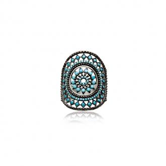Bague Carador motif soleil aztèque argent 925/000 et turquoise