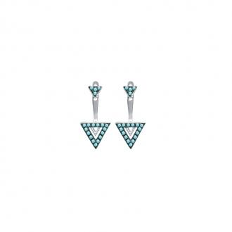 Boucles d'oreilles et dessous de lobe Carador tiangle empierré de turquoise en argent 925/000
