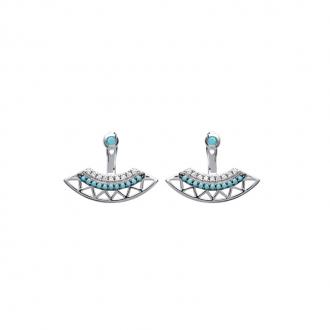 Boucles d'oreilles Carador contour de lobes motif ethnique en argent 925/000, turquoises et zircons