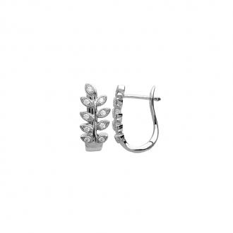 Boucles d'oreilles Carador créoles ovales motif laurier argent 925/000 et oxydes de zirconium