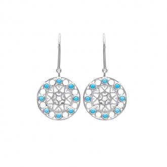 Boucles d'oreilles Carador pendantes rondes motif ethnique argent 925/000 et turquoises