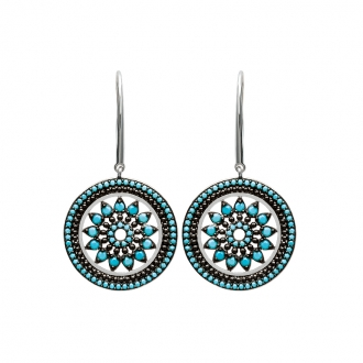 Boucles d'oreilles Carador pendantes soleil aztèque argent 925/000 et turquoises