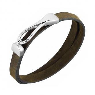 Bracelet Homme Phebus double tour cuir marron 35-0843