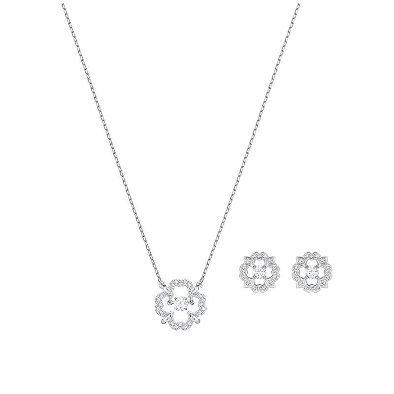 nouvelle collection Vente au rabais 2019 nouveau pas cher Parure collier boucles d'oreilles Swarovski Sparkling Dance Flower argenté  5397867