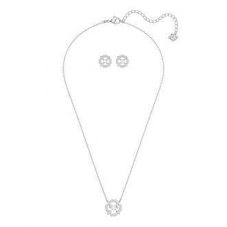 Parure collier boucles d'oreilles Swarovski Sparkling Dance Flower argenté 5397867