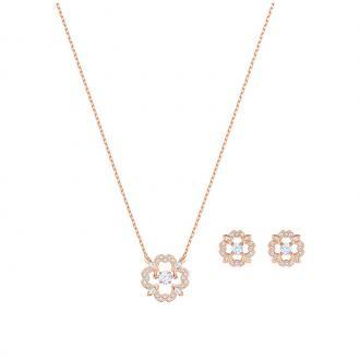Parure collier boucles d'oreilles Swarovski Sparkling Dance Flower plaqué or rose 5408439