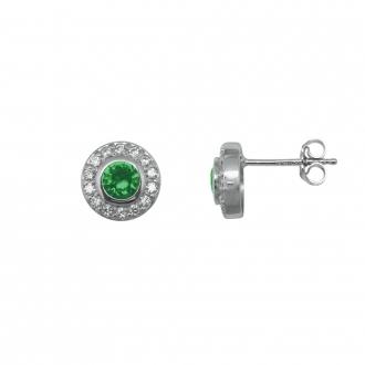 Boucles d'oreilles Carador joaillerie rondes argent 925/000, oxydes de zirconium et verre vert