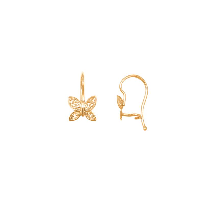2b1bb6dfe Boucles d'oreilles dormeuses Carador papillon dentelle or jaune 375/000