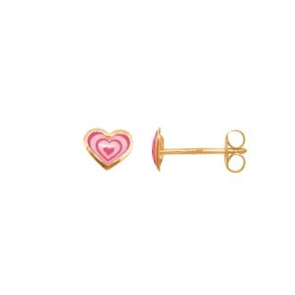 Boucles d'oreilles Carador cœur laque rose en or jaune 375/000