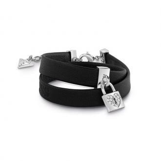 Bracelet Femme Guess Heart Lock cuir noir UBB85123-S