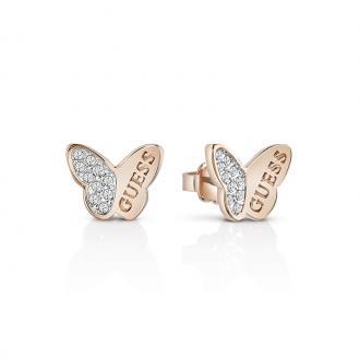 Boucles d'oreilles Femme Guess Mariposa dorées rose UBE83022