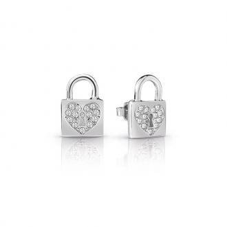 Boucles d'oreilles Femme Guess Heart Lock argentées UBE85053