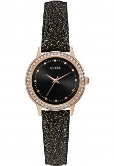 Montre Femme Guess Chelsea cuir noir pailleté W0648L22